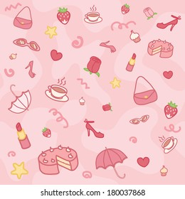 Funny girlie pink seamless pattern