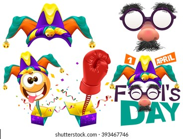 Funny glasses nose. April Fools Day lettering text for greeting card