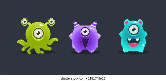 Funny glossy colorful monsters, cute cartoon colorful aliens, game user interface element for video computer games vector Illustration