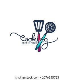 funny and glossy  cooking food and cooking logo, emblem and symbol with hand drawn lettering