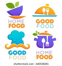 funny and glossy food and cooking logo, emblems and symbols
