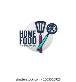 funny and glossy  home food and cooking logo, emblem and symbol