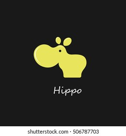 Funny gold hippo logo design vector template. Wild safari icon. Hippopotamus animal logotype concept.