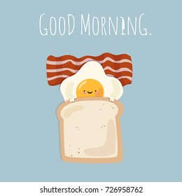 Funny good morning breakfast egg with toast and bacon cartoon. Vector illustration