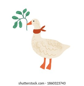Funny goose with red collar on neck isolated on white background. Domestic bird holding green branch with leaves in beak. Hand drawn flat textured vector illustration