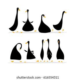Funny goose set, sketch for your design. Vector illustration