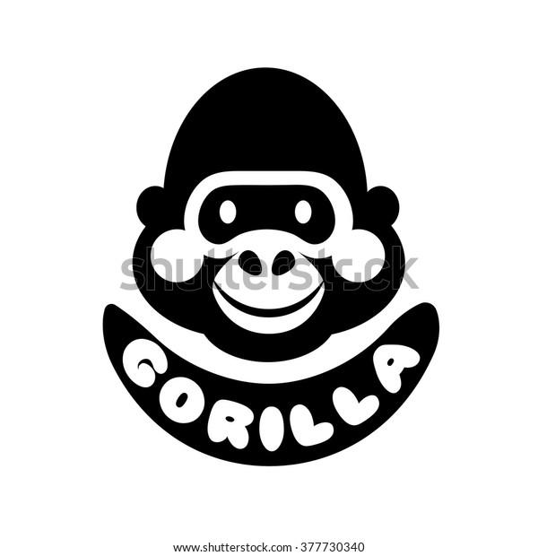 05b44d5e1 Funny Gorilla Monkey Vector Black and White Head Face Logo icon design illustration  isolated on white