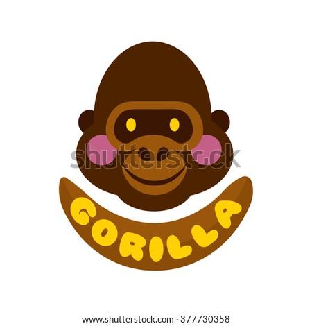 61234b110 Funny Gorilla Monkey Vector Brown Head Face Logo icon design illustration  isolated on white