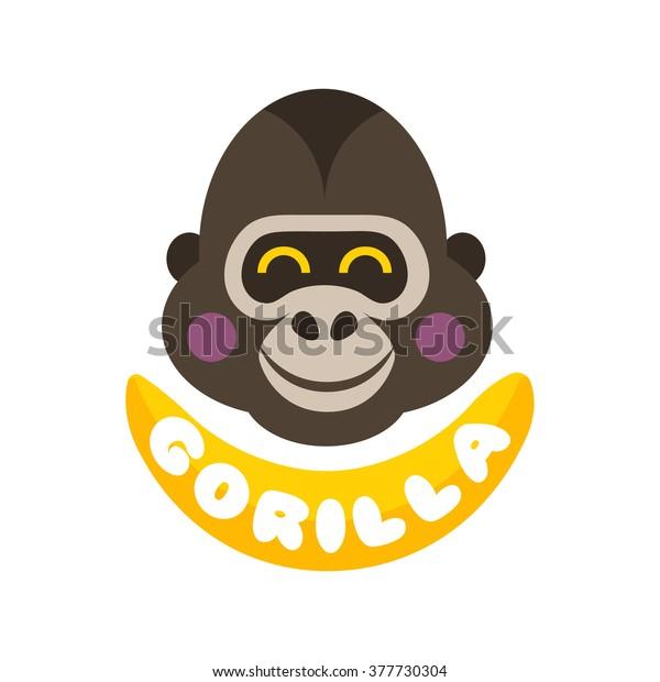 9463bd013 Funny Gorilla Monkey Vector Grey Head Face Logo icon design illustration  isolated on white