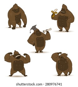 funny gorillas set, vector