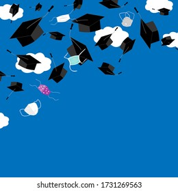Funny graduation corner background with bonnets and medical masks in the air. Flying masks and grads hats, Quarantine 2020 Graduation ceremony concept, vector illustration.