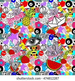 Funny graffiti, Vector seamless pattern bright colorful stickers characters background, street art style
