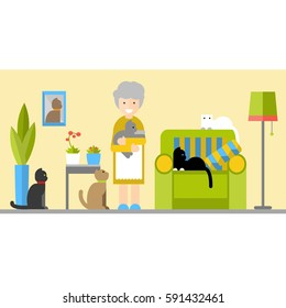 Funny grandma lives with five cats in the house. Vector flat illustration.