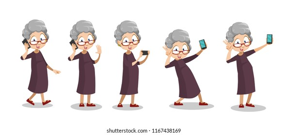 Funny grandma talking on mobile phone. Playful elderly woman making selfie photo. Funny granny action set. Aged woman using smartphone. Modern technology in life of old people vector illustration