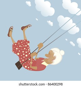 A funny granny on the swing is happy like a child.