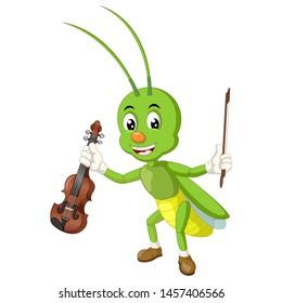 Funny Grasshopper Cartoon For Your Design