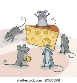 Funny gray cartoon mice around cheese. Vector illustration, EPS 10. Contains transparent objects