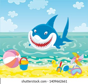 Funny great white shark swimming in blue water on a summer sea beach and friendly smiling, vector illustration in a cartoon style