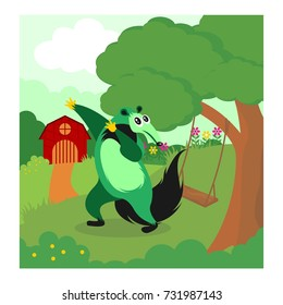 funny green anteater playing alone in the barnyard cartoon character