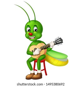 Funny Green Grasshopper With Acoustic Guitar Cartoon For Your Design