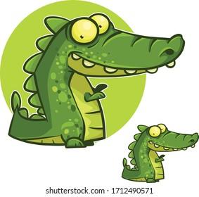 funny green vector cartoon crocodile character