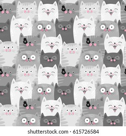 Funny grey cats, cute seamless pattern background