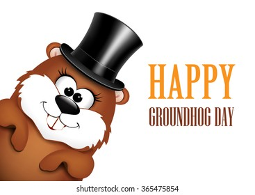 Funny groundhog in hat on a white background