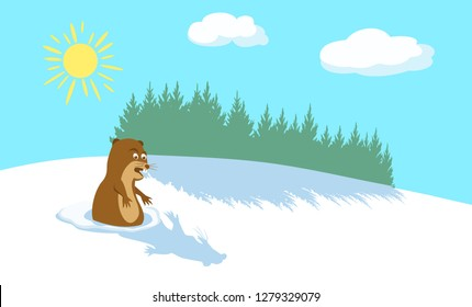 Funny groundhog scared of his shadow. Winter background with pine forest. Sun and clouds in blue sky. Happy Groundhog Day. Vector illustration EPS-8.