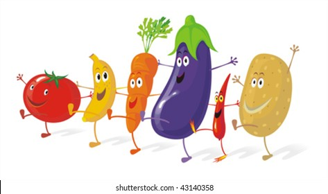 Funny group of vegetables enjoying a dance. No gradient vector. Easy to create new scenes by moving a few elements.