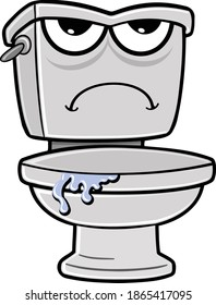 Funny grumpy toilet cartoon character illustration with water leaking out from under lid and frown face. Illustrator eps vector graphic design.