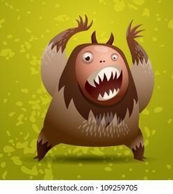 Funny hairy monster, vector 02