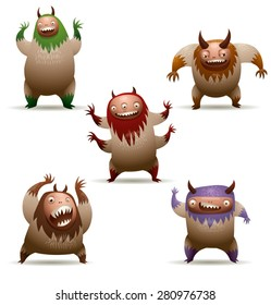 Funny hairy monsters set, vector