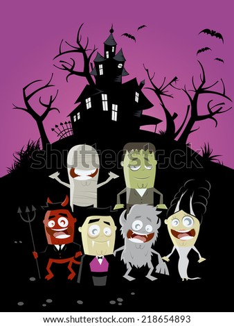 funny halloween background stock vector royalty free 218654893