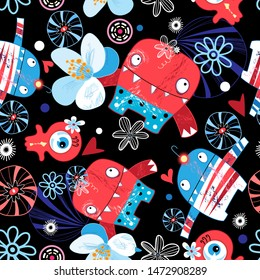 Funny Halloween bright vector pattern of monsters on a dark background. Template for wallpaper, poster or web page.