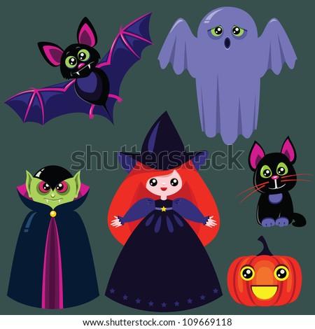 funny halloween iconsdesign elements bat vampire stock vector