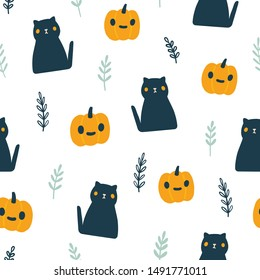 Funny Halloween illustration with black cats and pumpkins. Vector seamless pattern