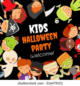 Funny halloween party design concept with happy halloween kids in halloween costumes celebrating. Kids party invitation. Pirate,devil,witch,mummy,dragon,vampire,ghost,monsters.Vector illustration