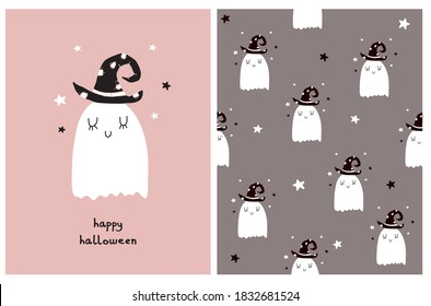 Funny Halloween Party Vector Card and Seamless Vector Pattern. Cute Little Ghost in Black Witch Hat. White Dreamy Ghost Isolated on a Pink and Pale Brown Background. Infantile Style Nursery Art.