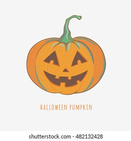 funny halloween pumpkin, vector illustration with carved halloween pumpkin isolated on white