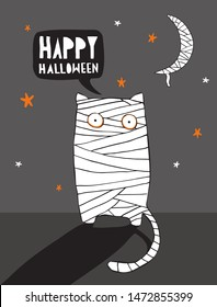 Funny Halloween Vector Illustration with Mummy Cat and Mummy Moon.Scary Cat Wrapped with Bandages Standing in the Moonlight. Night Sky with White Moon and Orange Stars. Halloween Art for Card, Poster.
