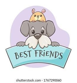 """Un gracioso hámster asomando la cabeza de un perro lindo, en un cartel con la frase """"Mejores amigos"""". Concepto de amantes de las mascotas. El concepto de amistad. Caracteres dibujados a mano. Perfecto para los productos de diseño de mascotas."""