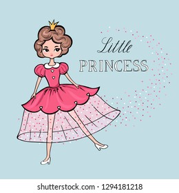 Funny hand drawn beautiful cute little princess girl with crown. Vector illustration in cartoon style