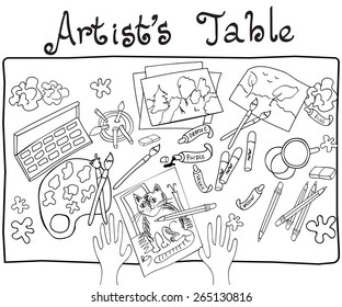 Funny hand drawn colorful vector illustration on artist's table with pencils, brushes, drawings, colors, stains and other items. Top view. Black on white background.