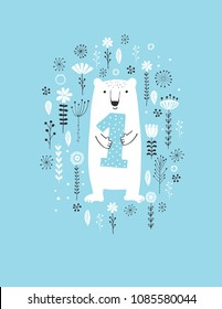 Funny Hand Drawn First Birthday Vector Illustration. Cute White Bear Standing Among Flowers, Holding Blue Dotted Number One. Lovely White Bear Isolated  on a Blue Background. Sweet Nursery Art.