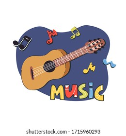Funny hand drawn guitar with musical notes and lettering banner, icon, label colorful design. Flat vector illustration on isolated background.