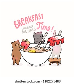 Funny hand drawn illustration about breakfast morning porridge. Cute bunny pouring milk, bear holding a strawberry and cat cooking healthy meal for children. Kids food image. Happy animals like people
