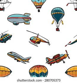 Funny hand drawn kids toy aeronautic transport. Baby bright cartoon helicopter, aerostat, balloon, biplane, airship, blimp, plane vector seamless pattern on white background. Set of isolated elements.