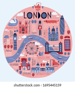 Funny hand drawn london map. Vector illustration of different landmarks and symbols. British sightseeing. Big Ben. Tower Bridge. Westminster Abbey.   Greenwich Park. 30 St Mary Axe.