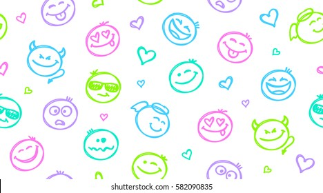 funny hand drawn seamless pattern with smiles, emoji background
