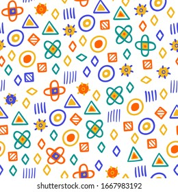 Funny hand drawn simple forms seamless pattern. Backdrop for kids textile on white. Different repeated forms - circle, triangre, square. Bright colors. Baby born print